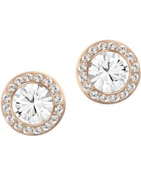 Swarovski Angelic Crystal And Rose Goldtone Stud Earrings gold - Lyst