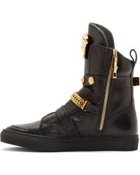 Versace Black Leather Chain Sneakers - Lyst