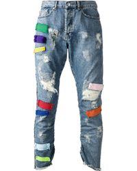 James Long - Distressed Applique Jeans - Lyst