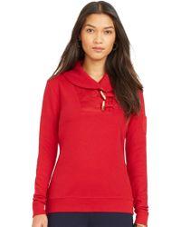 Lauren by Ralph Lauren Red Shawl-collar Pullover - Lyst