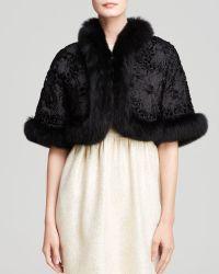 Maximilian Shrug With Fox Fur Trim And Silk Rosettes - Black