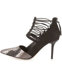 L.A.M.B. | May Snake-embossed Caged Pump | Lyst
