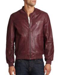 True Religion Leather Baseball Jacket - Lyst