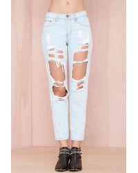 Nasty Gal Reverse Destroyed Boyfriend Jeans  Blue - Lyst
