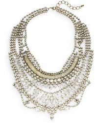Cara Couture - Multi-row Mixed White Stone Statement Bib Necklace/goldtone - Lyst