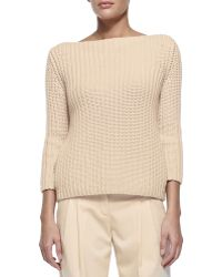 Michael Kors Shaker-Knit Cashmere Boat-Neck Sweater - Lyst