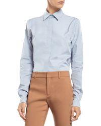 Gucci Blue Cotton Poplin Straight Shirt - Lyst