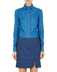Paco Rabanne Snap-Front Blouse blue - Lyst
