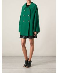 Ermanno Scervino Cape Style Double Breasted Coat - Lyst