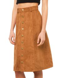 AKIRA Lift Off Suede Midi Skirt - Camel - Brown