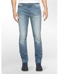 Calvin Klein | Jeans Slim Straight Leg Dusty Light Blue Wash Jeans | Lyst