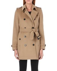 Burberry The Kensington Mid-length Wool And Cashmere-blend Trench Coat - Natural
