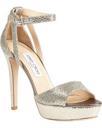 Jimmy Choo Kayden Platform Sandal Champagne Glitter gold - Lyst