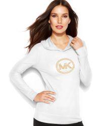 Michael Kors Michael Petite Waffle-Knit Hooded Logo Tee - Lyst
