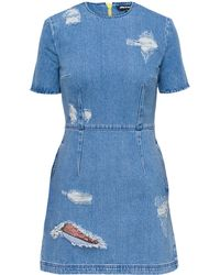 House Of Holland Lace Denim Dress - Lyst