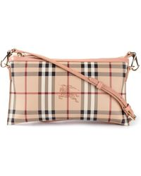 Burberry Haymarket Calf-leather Checked Cross-Body Bag - Lyst