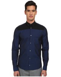Costume National Bicolor Button Up Shirt - Lyst