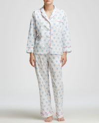 Marigot Collection Lorient Block Long Pajama Set - Blue