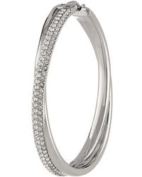 Michael Kors Collection Pave Crossover Hoop - Lyst
