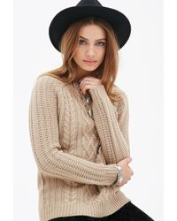 Forever 21 Cable-Knit Sweater - Lyst