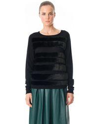 Tibi Faux Fur Stripe Pullover - Lyst