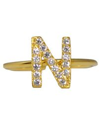 MaLi Beads - Letter G .925 Cz Initial Ring - Lyst