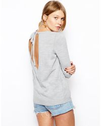 Asos Sweater with Tie Drape Back - Lyst