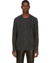 Pierre Balmain Charcoal Grery Cableknit Sweater - Lyst