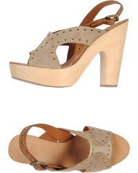 Ash Wooden-Heel Platform Sandals - Lyst