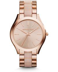 Michael Kors Slim Runway Rose Goldtone Stainless Steel & Acetate Bracelet Watch - Lyst