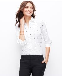 Ann Taylor Petite Embroidered Dot Perfect Shirt - Lyst