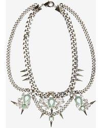 Fallon Jewelry Multi Drop Crystal Link Necklace green - Lyst
