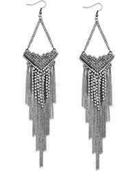 Material Girl - Gunmetaltone Rhinestone Fringe Chain Earrings - Lyst