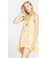 Free People Lace Trim Tunic yellow - Lyst