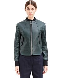 Paco Rabanne Womens Leather Bomber Jacket - Green