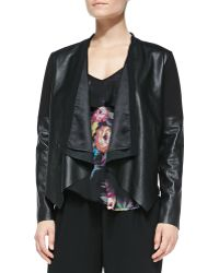 Twelfth Street by Cynthia Vincent Scubainset Lambskin Jacket Black Petite - Lyst