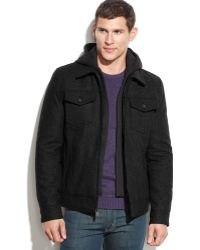 Guess Wool-Blend Hooded Bomber Jacket - Lyst