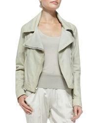 Donna Karan New York Asymmetric-Zip Leather Jacket - Lyst