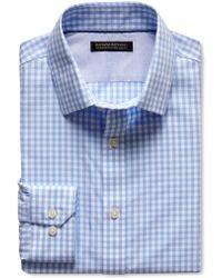 Banana Republic Tailored Slim Fit Non Iron Gingham Shirt Light Blue - Lyst