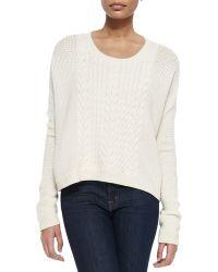 Alice + Olivia Scoop-Neck Open-Weave Sweater - Lyst