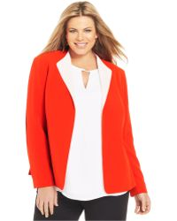 Jones New York Collection Plus Size Open-Front Blazer red - Lyst
