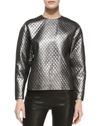 Michael Kors Quilted Lame Raglan Shell - Lyst
