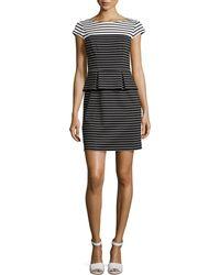 Ivy & Blu Striped Peplum Cap-Sleeve Dress - Lyst