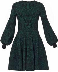 Alexander McQueen 3d Floral-jacquard Stretch-knit Dress - Lyst