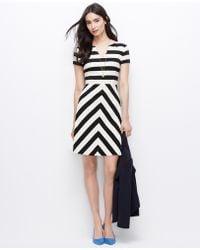 Ann Taylor Petite Mixed Stripe Knit Dress - Lyst