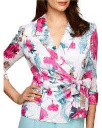 Alex Evenings Printed Wrap Blouse - Lyst