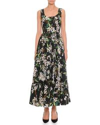 Dolce & Gabbana Floral-Print Long Tank Dress - Lyst