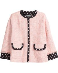 RED Valentino Boucl Jacket With Polka Dot Trim red - Lyst