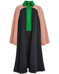 Delpozo Double Faced Wool Crepe Cape Coat - Lyst