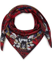 Versace Red Leopard Print Feather Detail Silk Scarf - Lyst